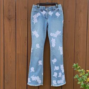 INC Fringe Hem Jeans with Lace Detail